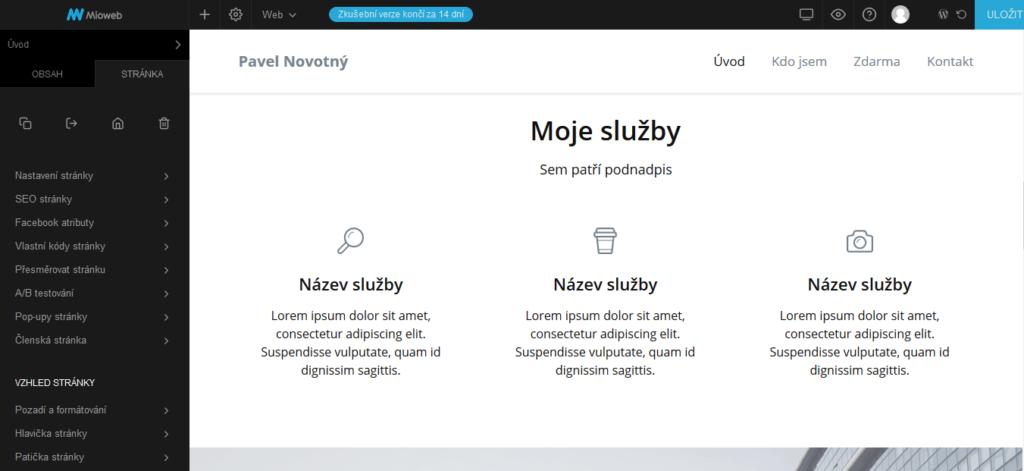 mioweb recenze nastavení stránky