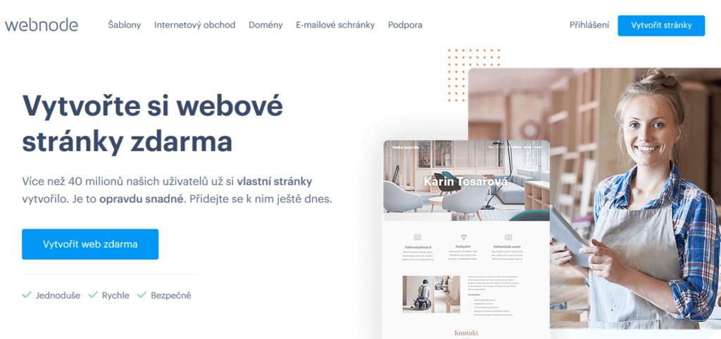 Recenze: Hlavní strana Webu Webnode.cz