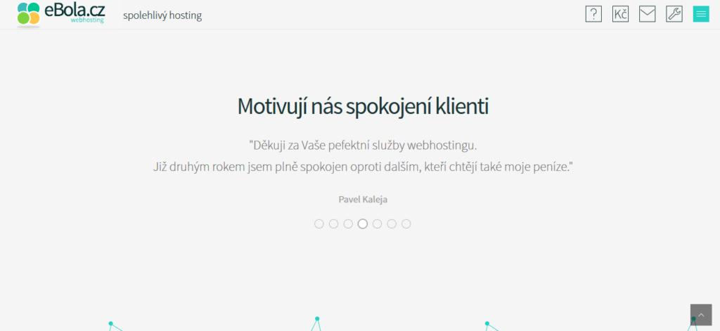 Ehosting ebola.cz recenze ukázka hlavní strany služby