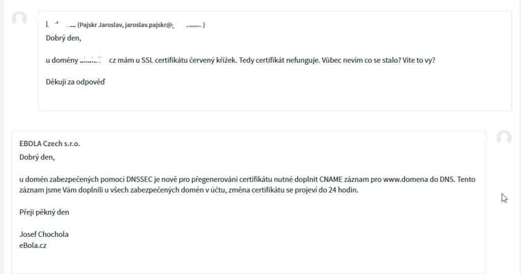 Ukázka komunikace s podporou hostingu